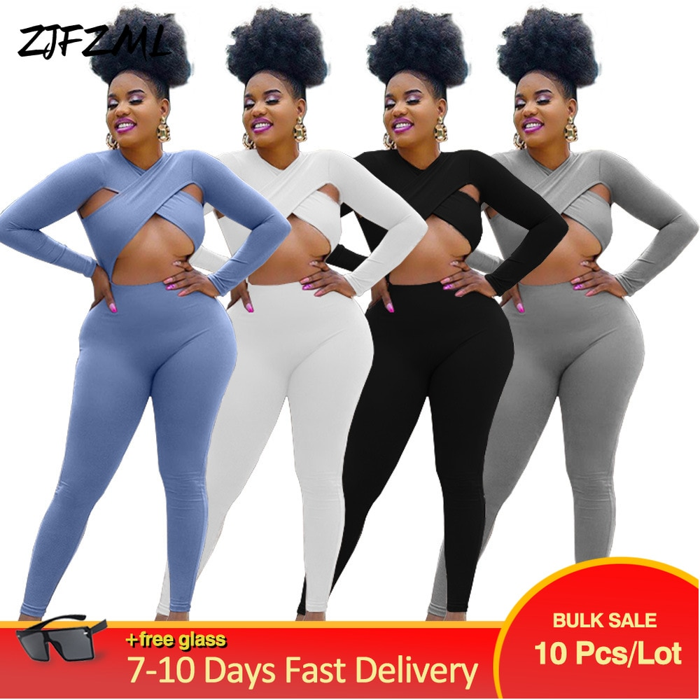 Bulk Lots Wholesale Items Skinny Sport Rompers Womens Jumpsuit Early Autumn Criss-cross Hollow Out Full Sleeve Fitness Outfit