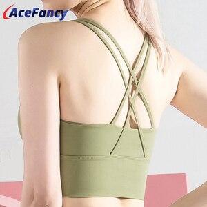 Acefancy Seamless Cross Beauty Back Yoga Tank top Women T2162 Plain Push Up Bra Workout Running Sports Crop Top Fitness Gym