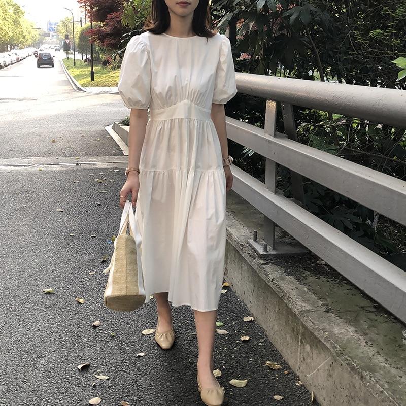 CMZA Women Long Dress 2021 Summer Casual Simply Puff-Sleeve Oversize Elegant Female Midi Dresses Ladies Loose Vestidos 0813#