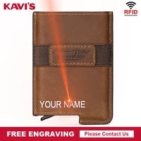 rfid blocking protection men id credit card holder wallet leather metal aluminum business bank card case small slim money clip