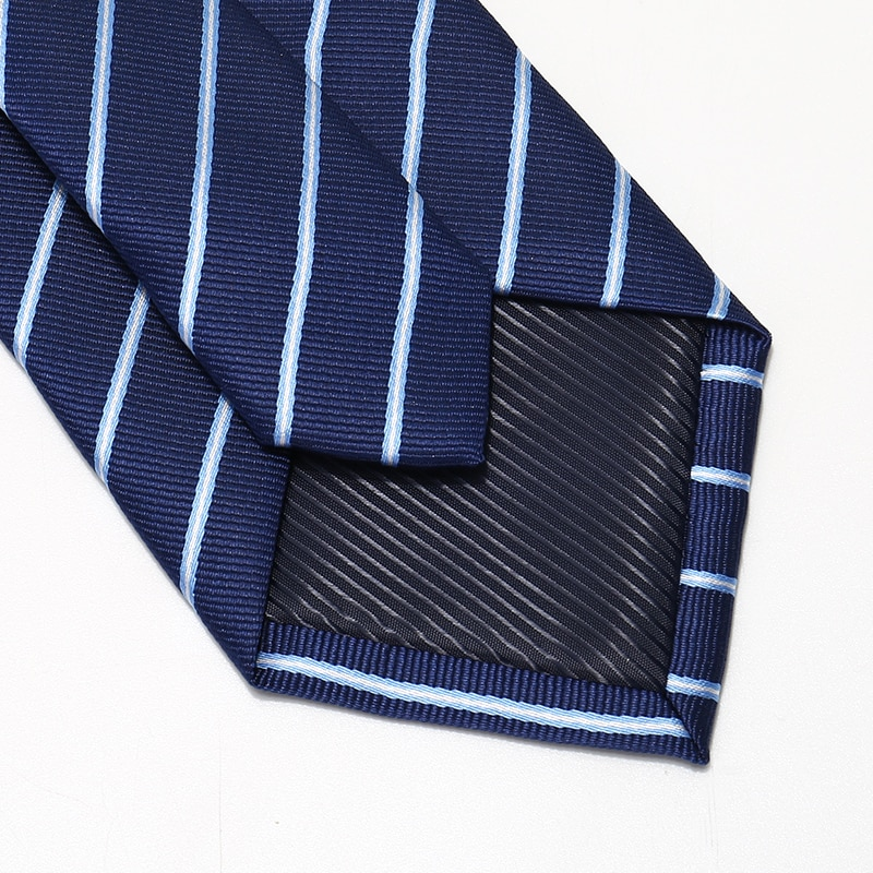 High Quality 2020 Designer New Fashion White Navy Blue Twill 8cm Ties for Men Necktie Host Business Formal Suit with Gift Box