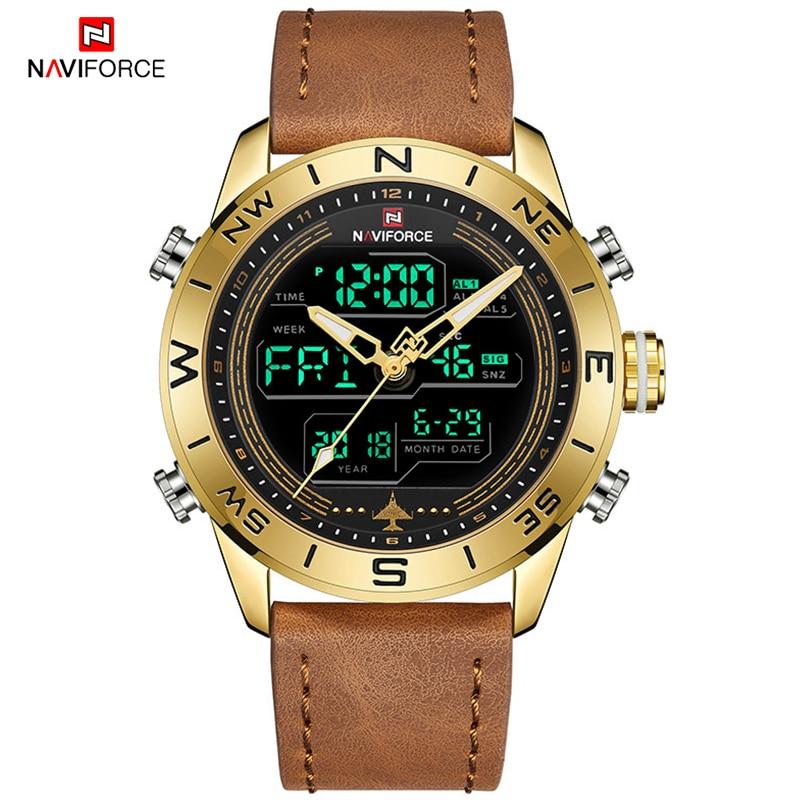 ساعات NAVIFORCE الرياضية للرجال من أفضل العلامات التجارية الفاخرة العسكرية ساعة معصم جلدية رجالية رقمية كوارتز كرونوغراف Relogio Masculino