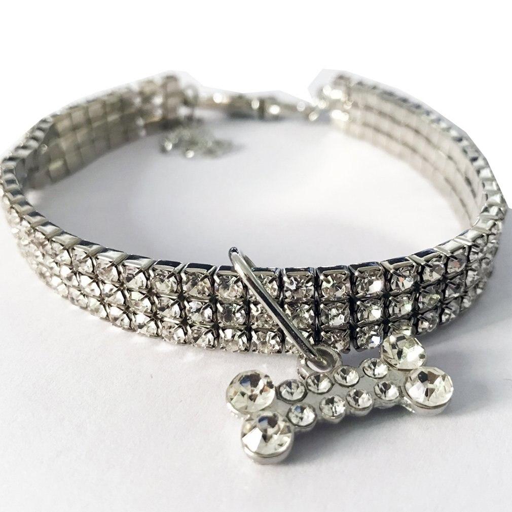 Mini Collar de perro mascota diamantes de cristal relucientes collares de Chocker elegante cuello de perro gato elástico ajustable joyería para mascotas