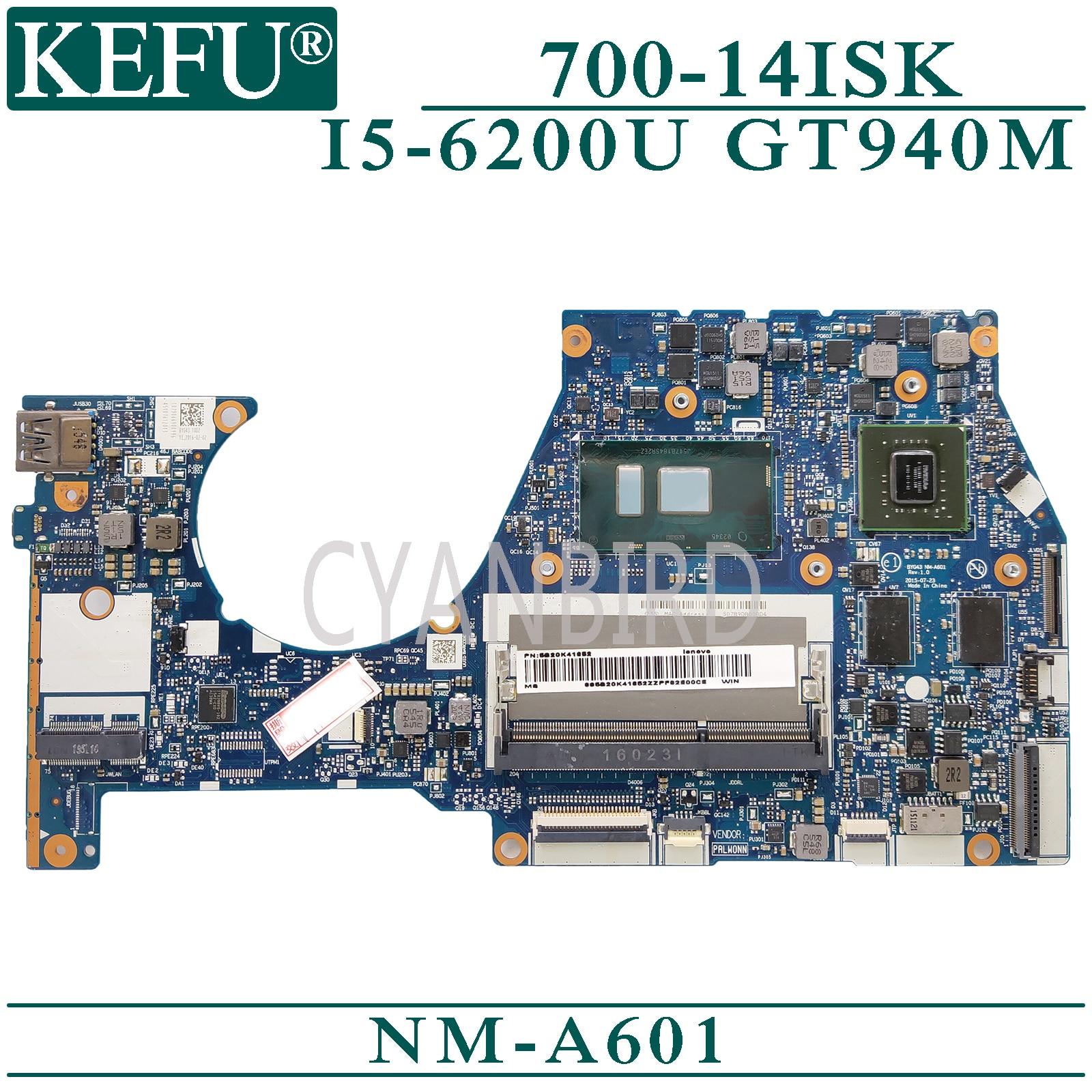 KEFU NM-A601 original mainboard for Lenovo YOGA 700-14ISK with I5-6200U GT940M Laptop motherboard