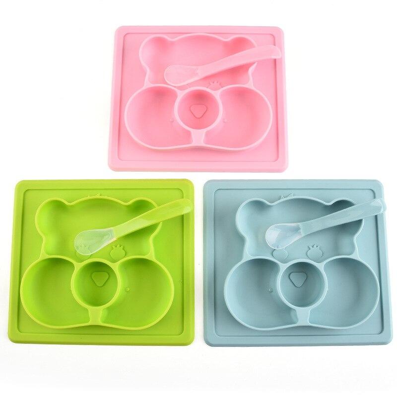 Plato de silicona de calidad alimentaria con forma de oso con cuchara, vajilla para bebés, plato de alimentación para niños, bandeja anticaída