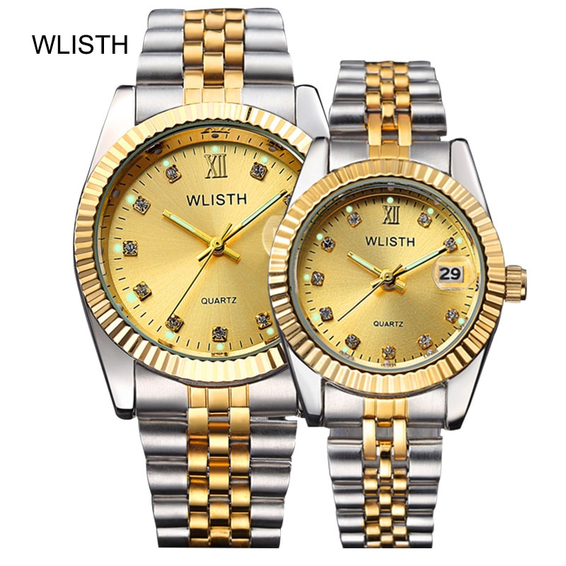 dom 2017 lovers watch couple watch luxury brand white gold watch waterproof style quartz leather wrist watch Couple Watches For Lovers Top Brand Luxury Quartz Clock Waterproof Wristwatch Fashion Casual Ladies Watch Couple business watch