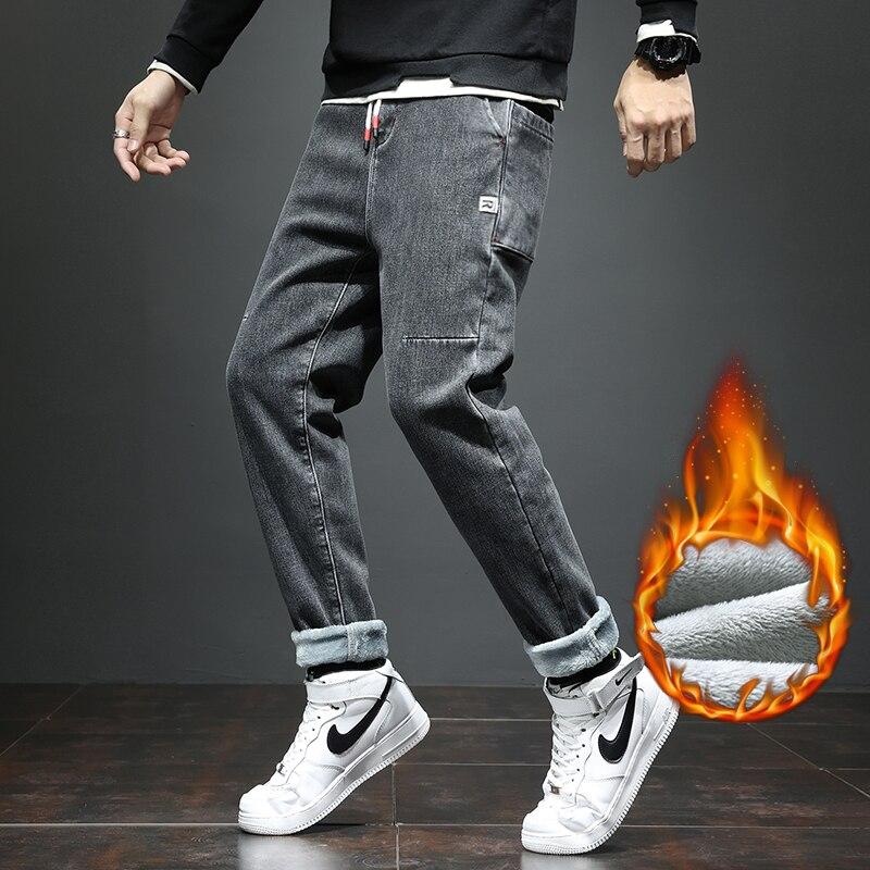 Осенне-зимние мужские бархатные джинсы, новые свободные прямые повседневные брюки, удобные теплые джинсы