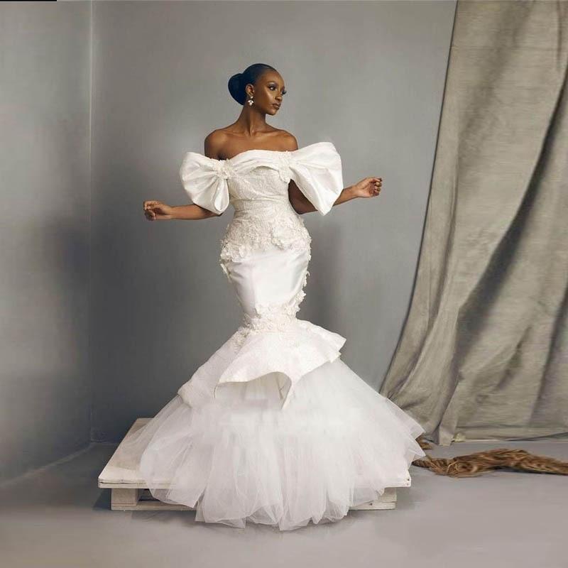 Свадебное платье с открытыми плечами, Кружевная аппликация, атласное и Тюлевое Многоярусное платье со шлейфом, свадебные платья