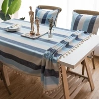 striped waterproof tablecloth mediterranean wind blue fabric cotton linen small fresh table rectangular coffee table cloth