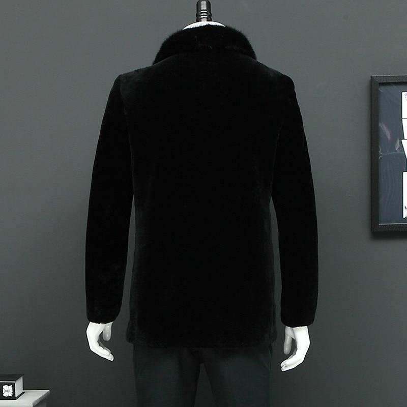 Chaqueta de invierno para hombre, abrigo de pelo de oveja con cuello de visón Real, chaqueta de lana cálida para hombre L16201S YY332