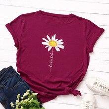 Camiseta estampada de flores 100% algodón de manga corta para mujer, camisetas de verano Harajuku para mujer, camisetas informales de gran tamaño