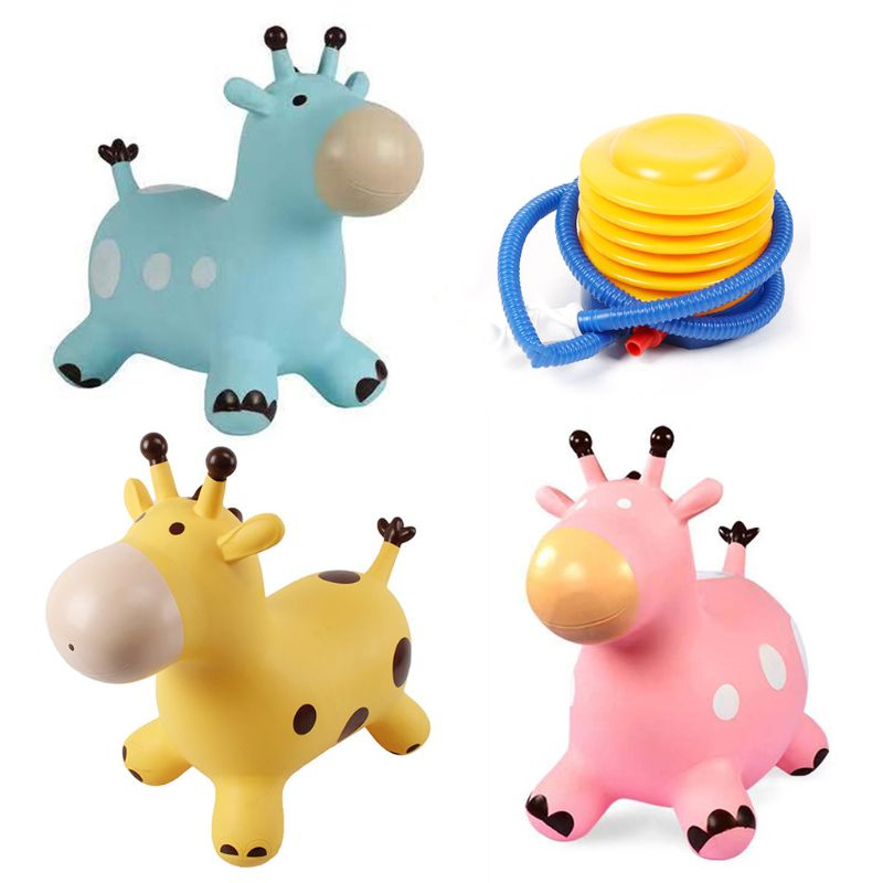 Inpany نطاط الزرافة هوبر نفخ القفز الزرافة كذاب ألعاب حيوانات R7RB