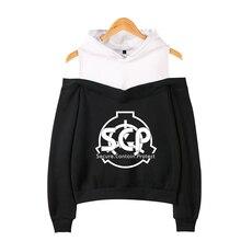 Frdun Scp Foundation 2019 K-pops  Printing Women summer Fashion Hooded Off-Shoulder Hoodies Sweatshirt Women Clothes XXL