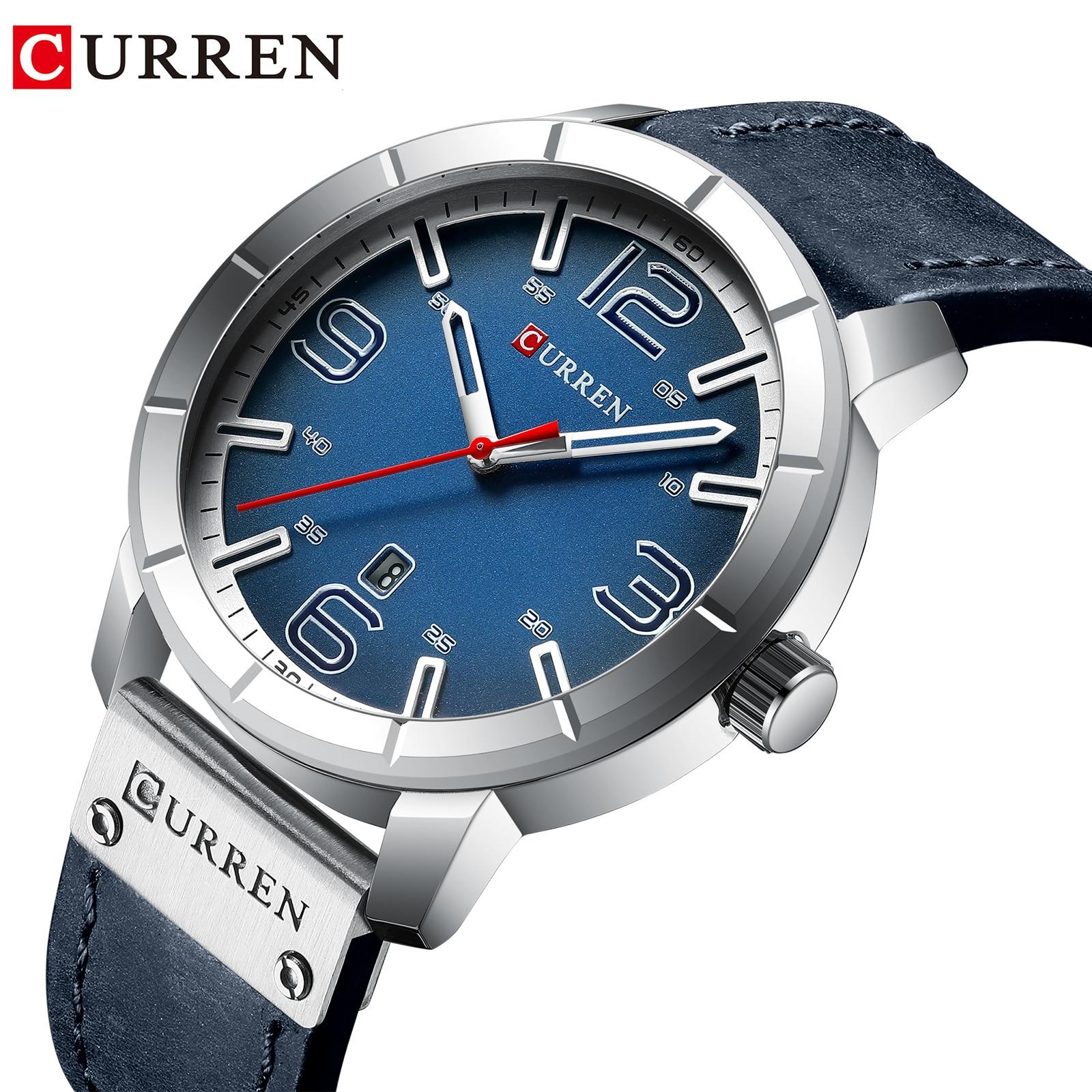 CURREN Sports Leather Watch Luxury Brand Watches Quartz Wristwatch Business Calendar Quartz Clock Horloge Heren