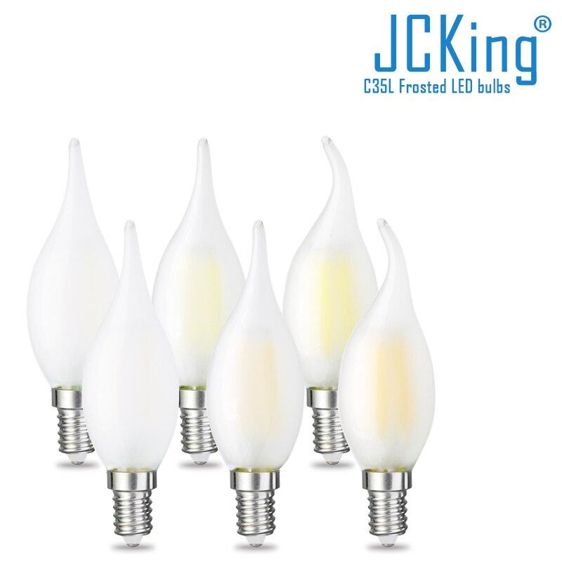 Приглушаемые матовые светодиодные лампы 2 Вт-8 Вт светодиодный Светодиодная свеча E12 E14 110 В 220 В, винтажная Ретро приглушаемая лампа накалива...