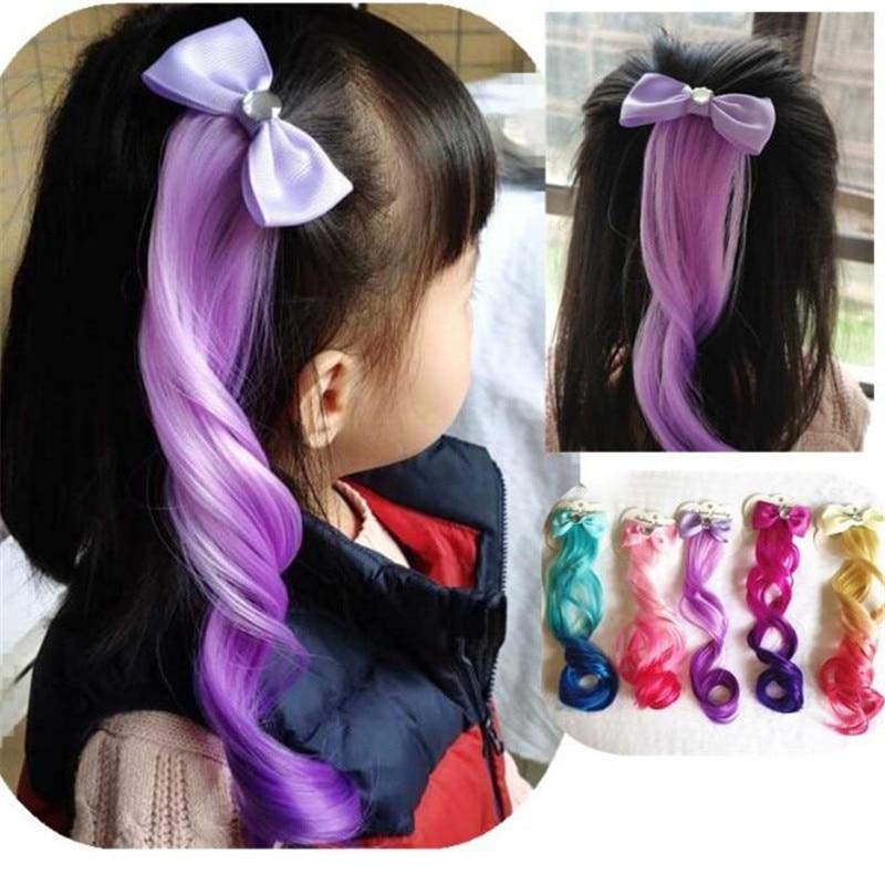 2019 acessórios de cabelo colorido bowtie grampos de cabelo para meninas arco-íris glitter asas arcos de cabelo princesa crianças peruca longa hairpins presentes