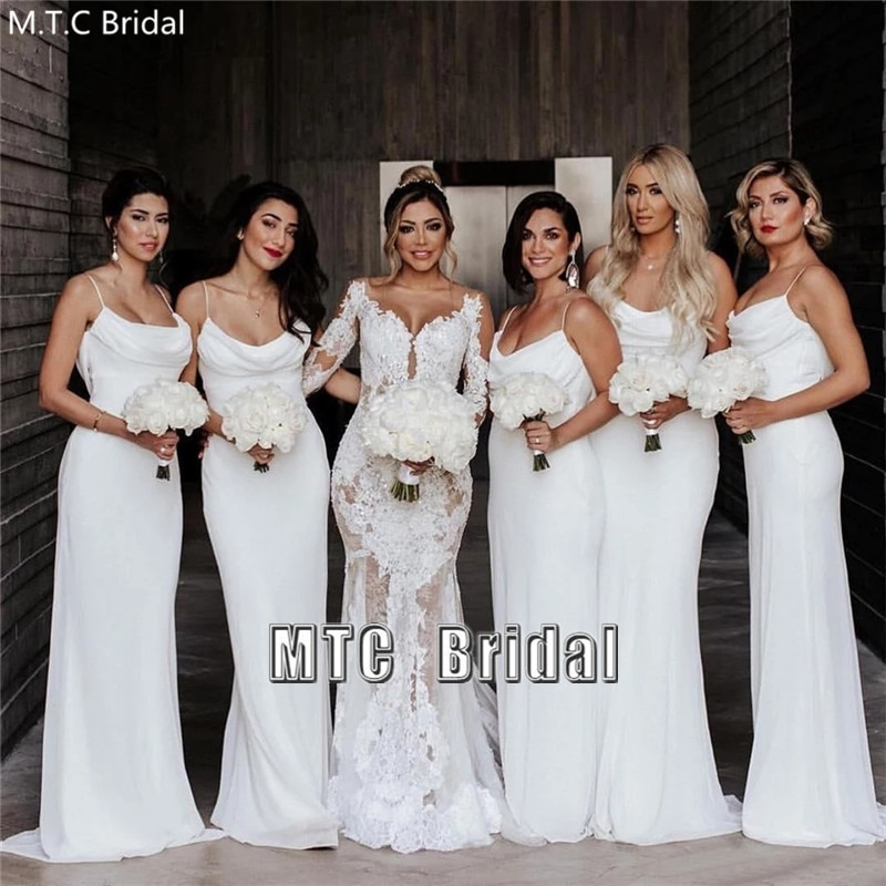 Long White Bridesmaid Dresses Mermaid Spaghetti Strap Sexy Maid Of Honor Wedding Party Gowns Plus Size Women Formal Dress
