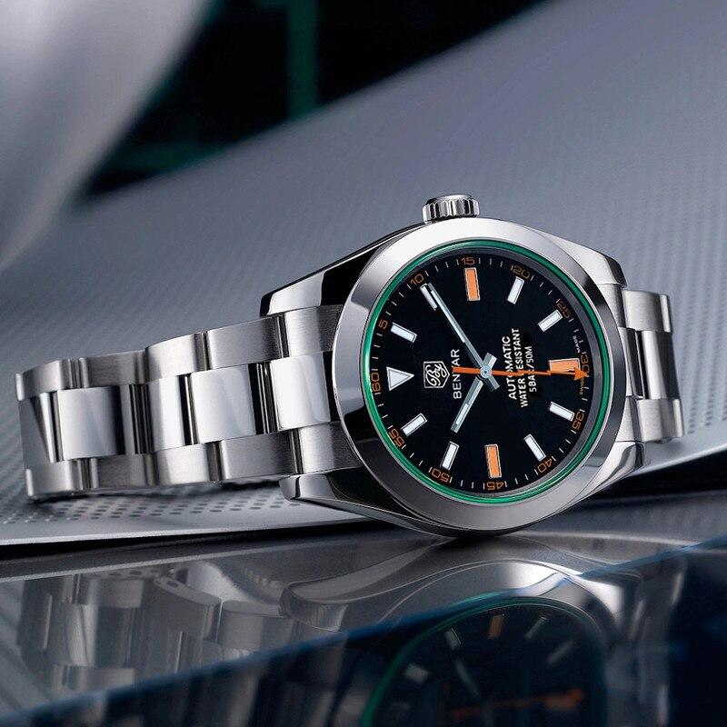 Relógios dos Homens Superior à Prova 2021 de Luxo Benyar Novos Inoxidável Mecânico Automático Relógio Masculino Marca Dwaterproof Água Esporte Reloj Hombre Aço