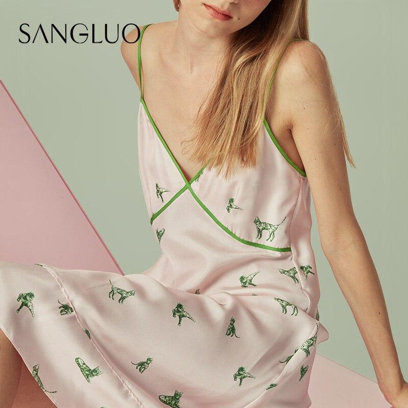 الحرير الحقيقي النوم المألوف القط طباعة الحمالة تنورة سانجلو التوت فستان حريري بيجامة فتاة