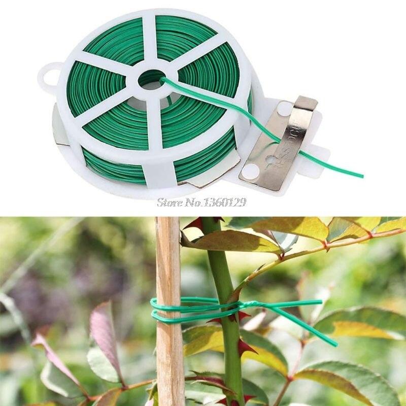 50m/rollo de planta de jardín Twist Tie Wire Carrete con cortador de planta de jardinería flor y arbusto jardinería Cable de Casa Dropship
