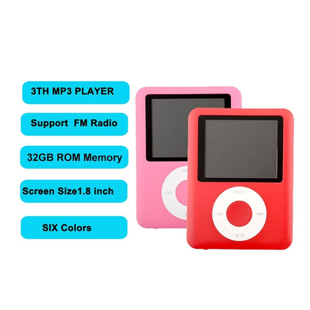 3th MP3 reproductores GEN 1,8 pulgadas FM Raido grabadora de voz EBOOK música integrada 32GB memoria Mini Light PLAYER 6 colores a elegir