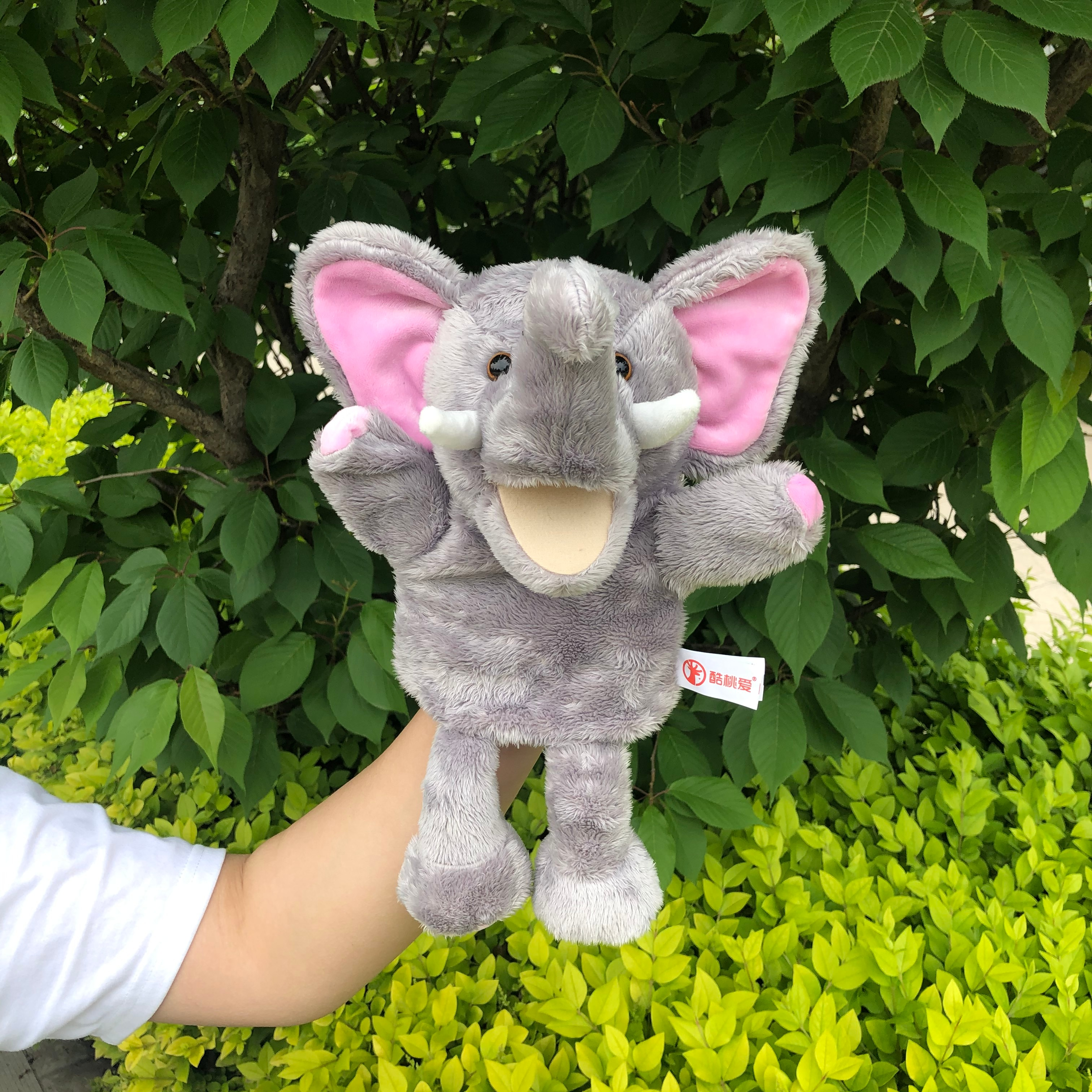 30cm Bewegen die mund der dschungel tier elefanten finger puppet spielzeug baby komfort artikel eltern-kind-spiel plüsch puppen