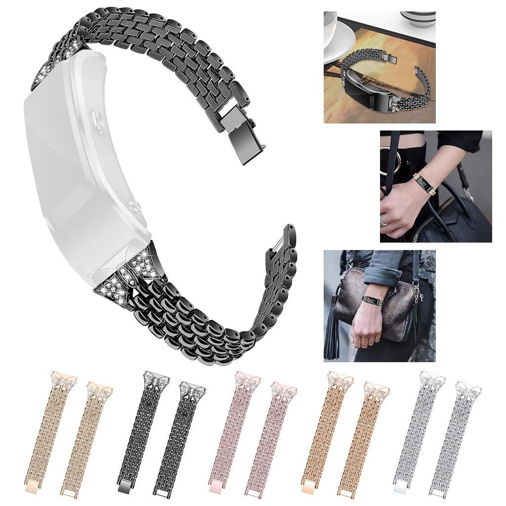 Bling aço inoxidável pulseira de metal pulseira banda para fitbit carga 3 relógio inteligente esportes pulseira smartwatchs acessórios