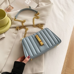 Vertical Lines Small PU Leather Crossbody Bags for Women 2021 Summer Trend Lady Branded Luxury metal Chain Shoulder Handbags Sac