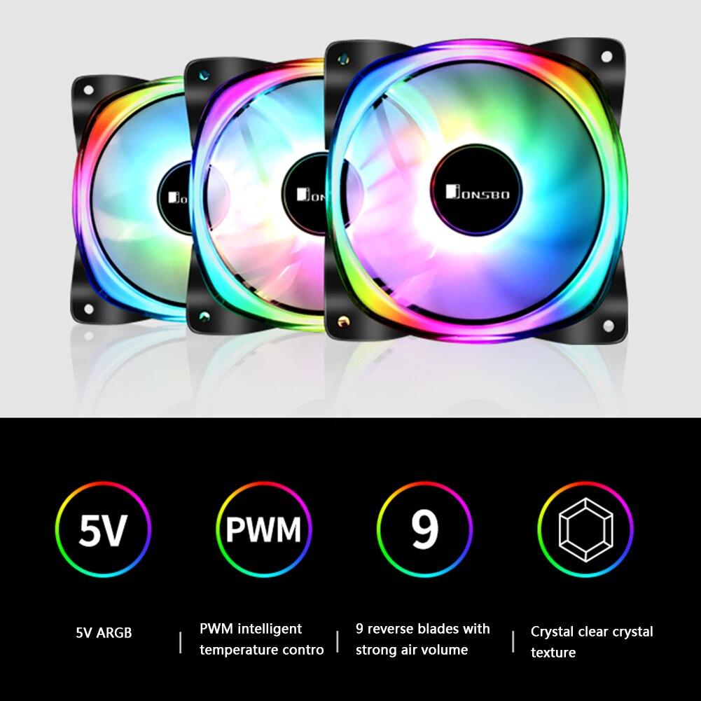 JONSBO FR-701 ARGB LED PC ventilador con cubierta 120mm 9 cuchillas adelante/reverso direccionable RGB iluminación PWM chasis ventilador Accesorios