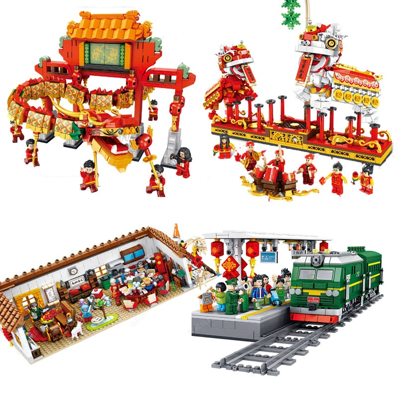 2020 City Creator Chinese New Year's Eve Dinner Temple Fair Lion Dance Dragon Dance Building Blocks Bricks Kids Toys