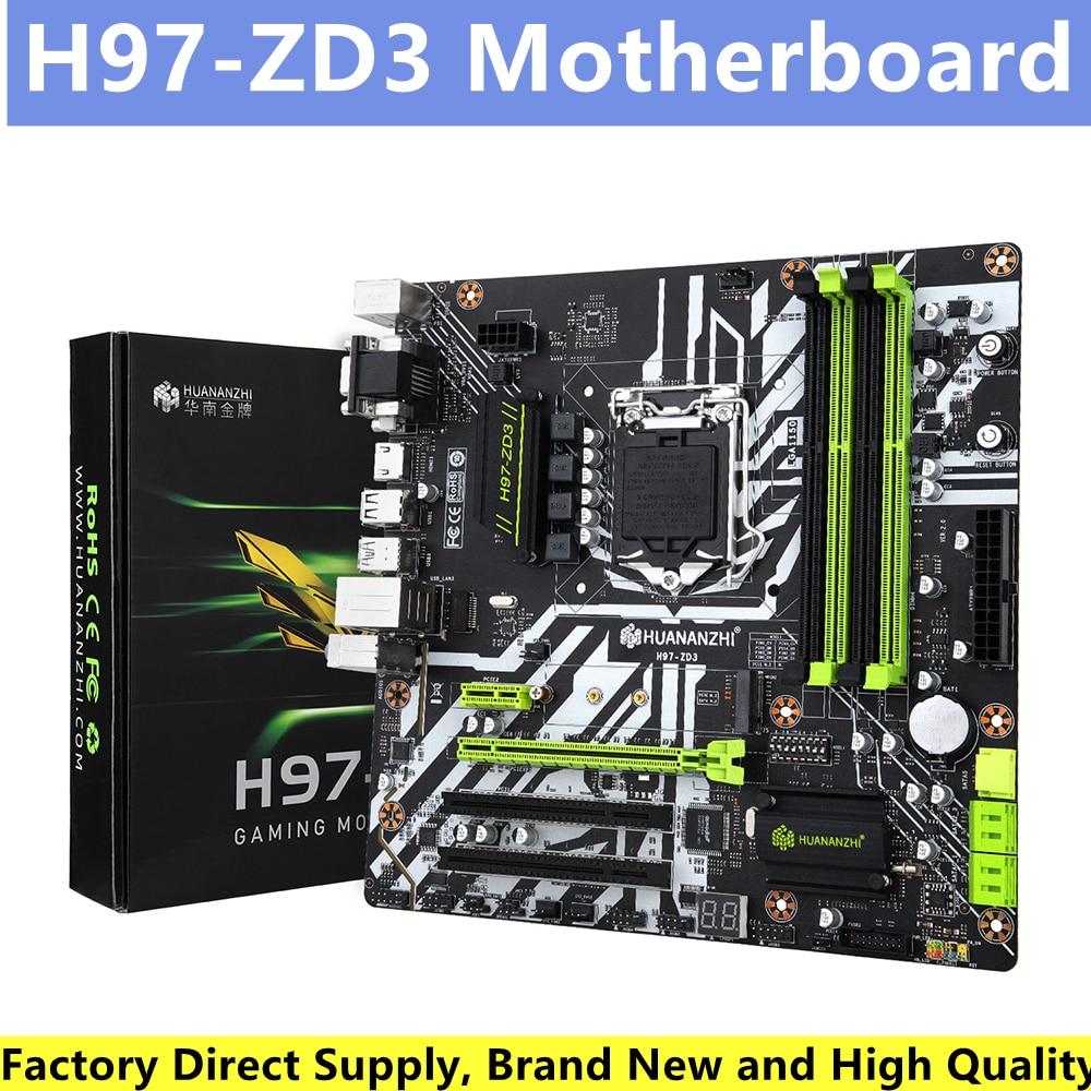 HUANANZHI H97-ZD3 اللوحة الأم 4xDDR3 الذاكرة M.2 NVME /NGFF واجهة دعم إنتل 1150 معالجات حاسوب شخصي مكتبي اللوحة الأم