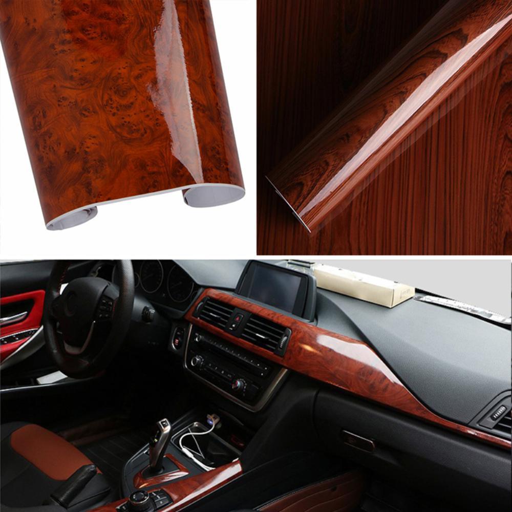 High-end design de alta grão de madeira brilhante vinil adesivo decalque carro interno auto adesivo filme diy extremamente durável csv