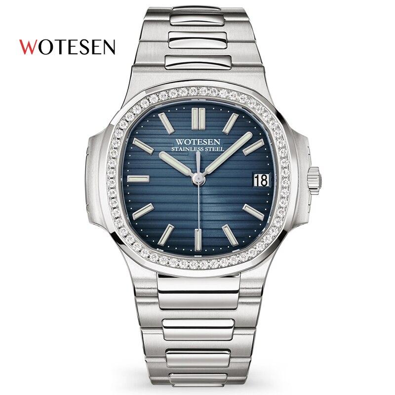 WOTESEN, relojes de diamante superiores para hombres, marca Quartz, relojes de lujo para hombres, relojes militares de acero de cuarzo, relojes de negocios para hombres