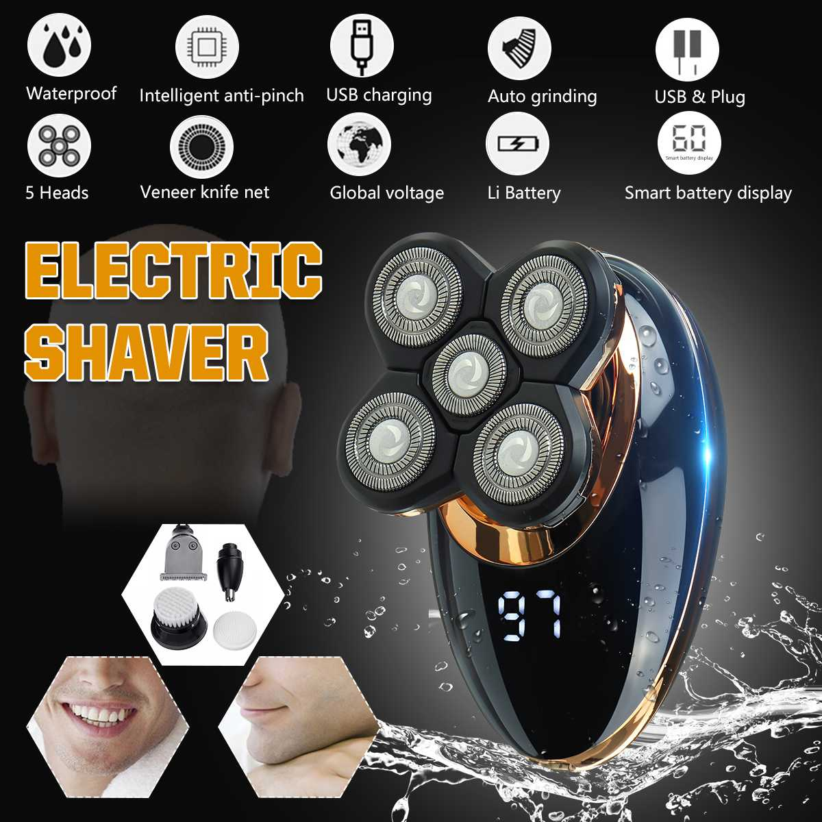 SPZ 5 в 1 4D электробритва USB перезаряжаемая IPX5 эргономичный дизайн для мужчин и женщин Мужская лысая головка полировка машинка для стрижки вол...