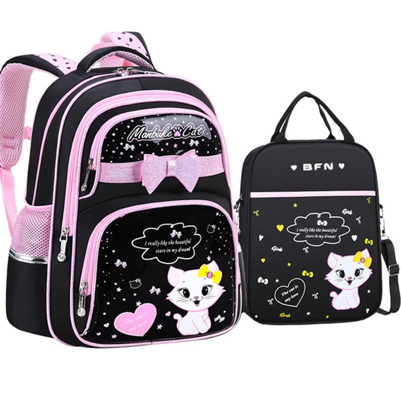 جديد الكورية الابتدائية بولي leather حقيبة مدرسية جلدية 2020 موضة بنات لطيف مع لطيف القط العظام مقاوم للماء على ظهره