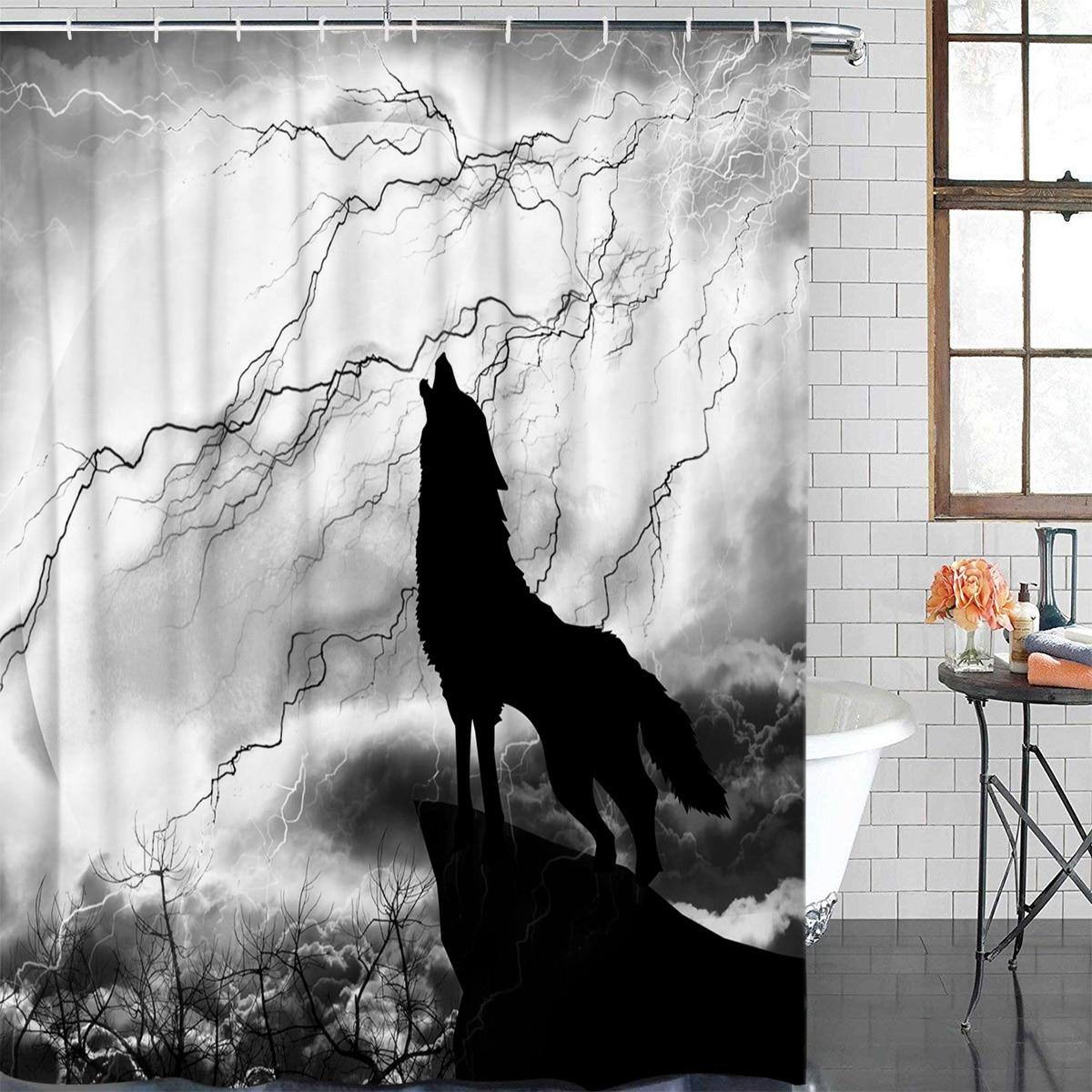 Cortina de baño Lobo negro noche relámpago Animal salvaje impermeable tela ducha cortina decoración del hogar Baño ducha cortina