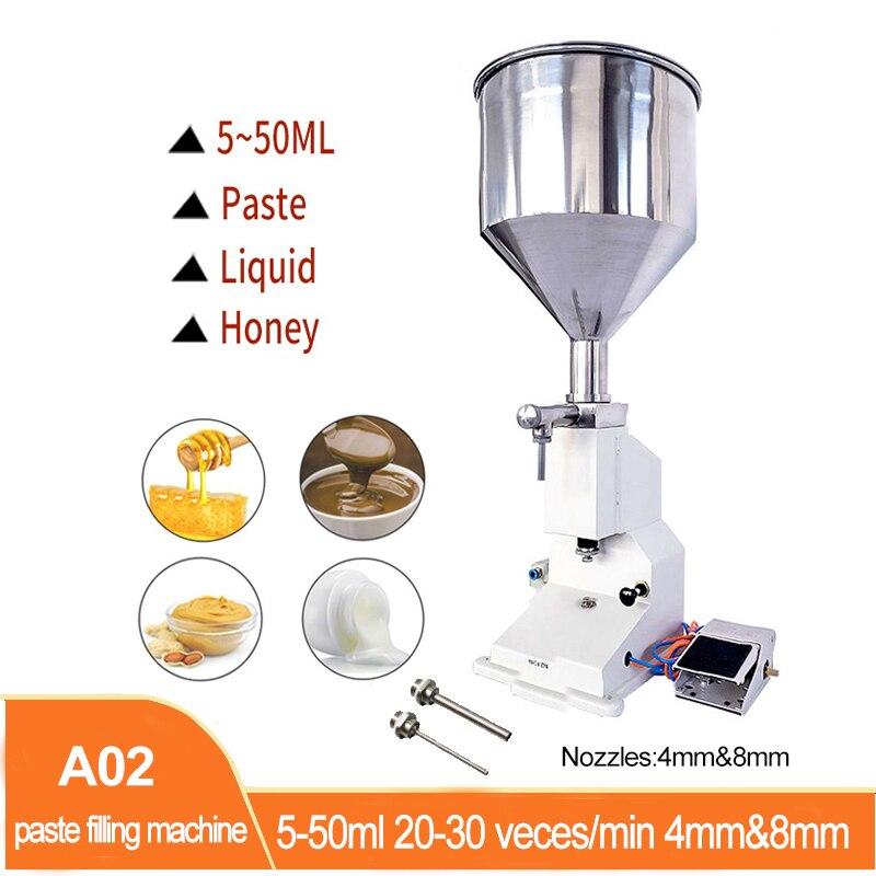 A02 الهوائية الكمية ماكينة تعبئة معجون 5-50 مللي كريم شامبو مستحضرات التجميل السائل ماكينة تعبئة معجون