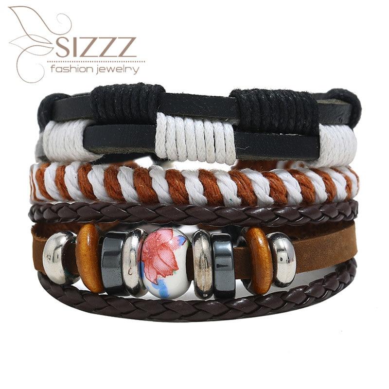 2019 New beaded combination leather vintage woven hemp rope diy three-piece bracelet&bangles for women/men