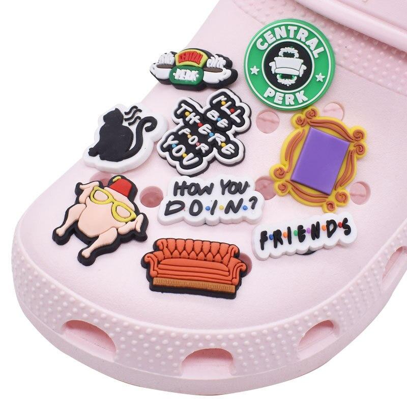 1pc Friends Style Shoe Charms Buckles Accessories DIY Croc JIBZ Garden Shoe Decoration Sandals Ornam