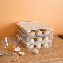 Fridge Egg Storage Box Plastic Egg Tray Holder Organizer Box Container Egg Dispenser for Refrigerator Capacity Kitchen Gadgets