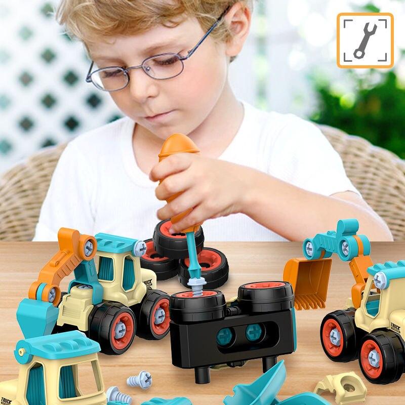 Разборные игрушки детские игрушки Сделай Сам инженерных автомобилей, забавные головоломки для детского сада, развивающие игрушки для дете...