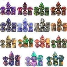 Hohe Qualität 15 farbe Kreative Universum Galaxy Würfel Set von D4-D20 Glitter Pulver Erstaunliche Wirkung für DnD MTG Tabletop RPGs spiele