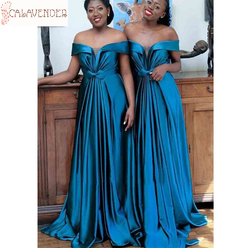Vestido largo de satén azul cobalto para dama de honor, prenda suave...