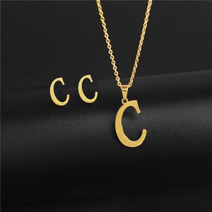 26 Alphabet Initials Capital Letter Chain Choker Necklace Earrings Set Gold Color Stainless Steel African Jewelry Sets for Women