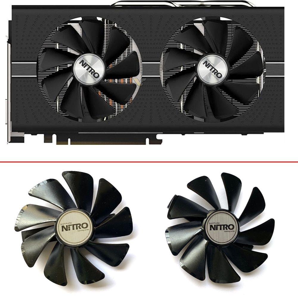 2PCS NEW CF1015H12D ETH Cooler Fan For Sapphire Radeon RX 470 570 NITRO Mining Edition RX580 RX480 Gaming Video Card Cooling Fan