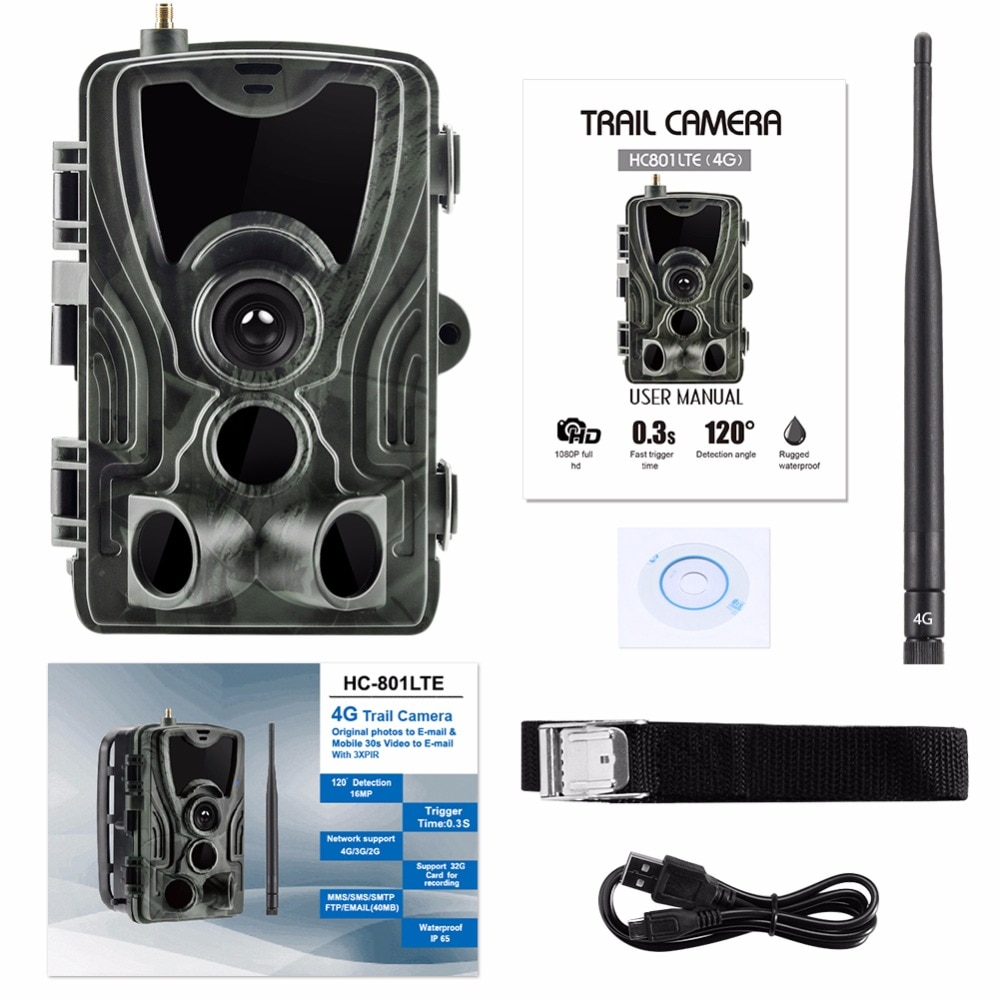 PROKER 4G MMS/SMS/SMTP/FTP Hunting trail camera 16MP 64GB night camera 0.3s Trigger wild camera photo traps for animal HC801LTE