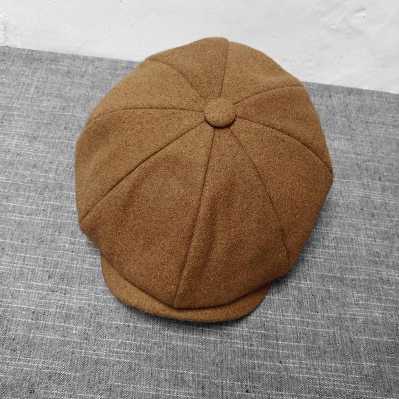 Negro marrón Camel lana sombrero hombre Newsboy gorras Color sólido Tweed cálido invierno octogonal sombrero Masculino Femenino Gatsby Retro tapas planas BLM65