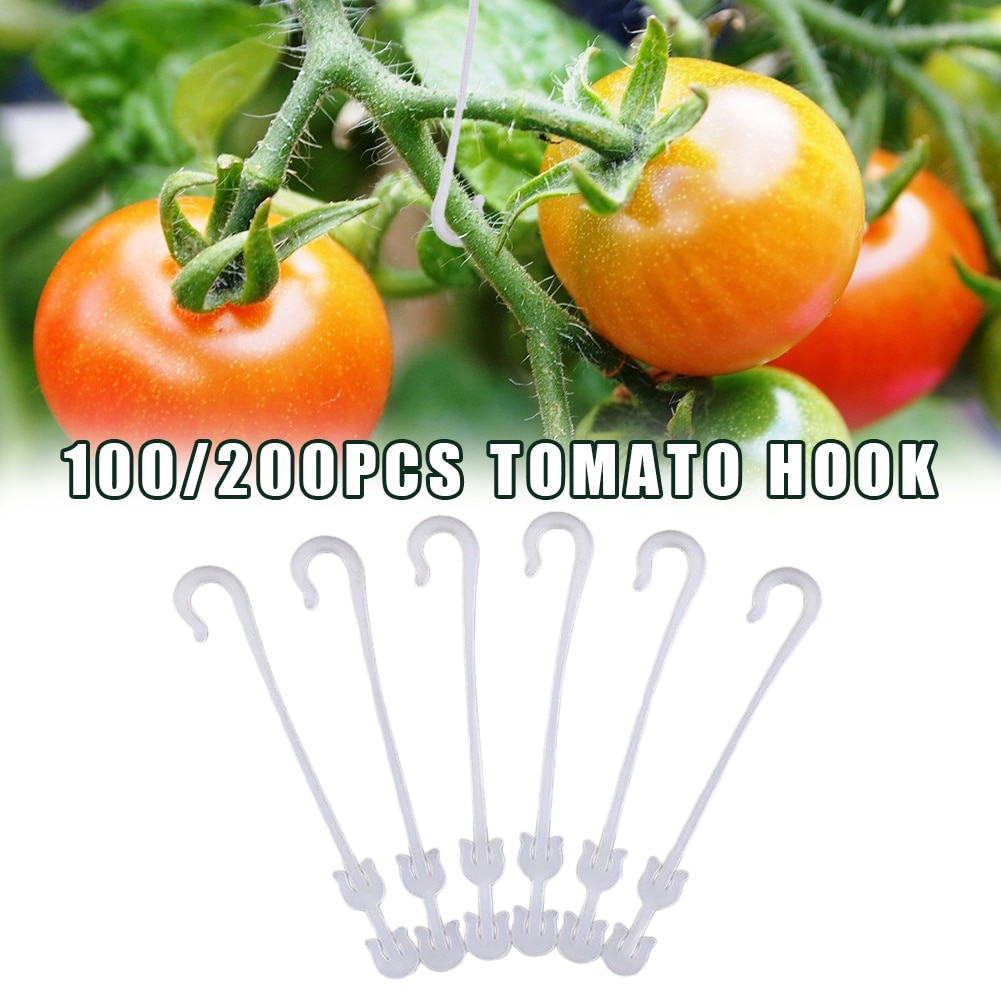 100/200Pcs Tomato Support J Hooks Plant Ear Hook Prevent Tomatoes Fruit Cluster From Pinching