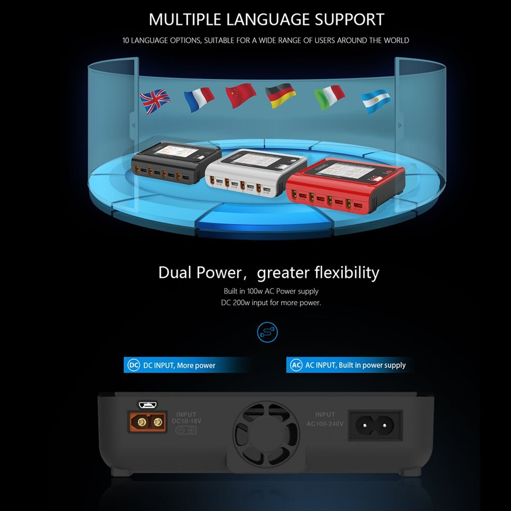 ToolkitRC M4Q 4x50w 5A AC 100W 4 DC XT60 Ports Smart Charger 32 Bit ARM IPS Bright Clear Wide Angle Display enlarge