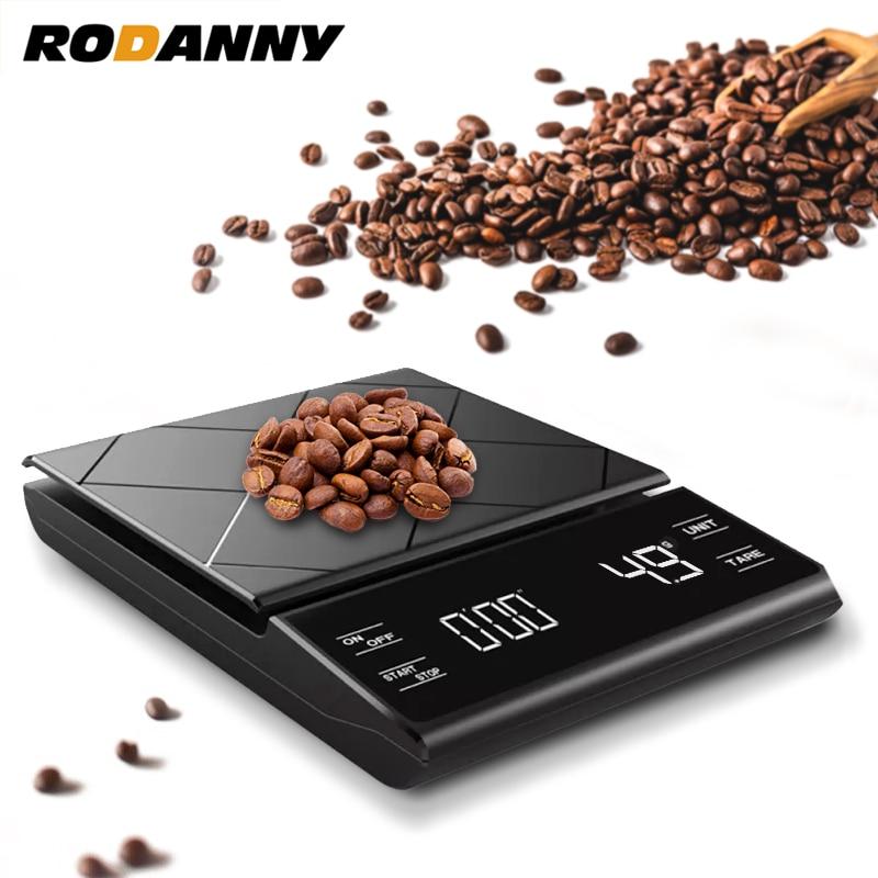 ميزان قهوة عالي الدقة من روداني مزود بمؤقت ذكي رقمي دقيق للمطبخ منزلي محمول 0.1 جم